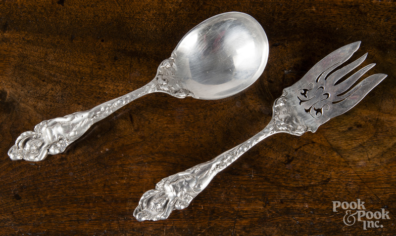 Sterling silver art nouveau serving spoon and fork