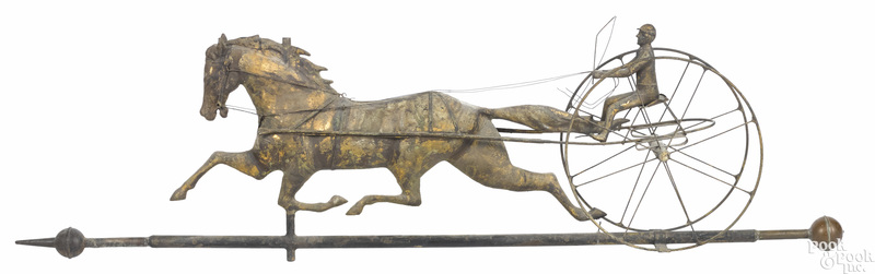 Full bodied copper horse and sulky weathervane