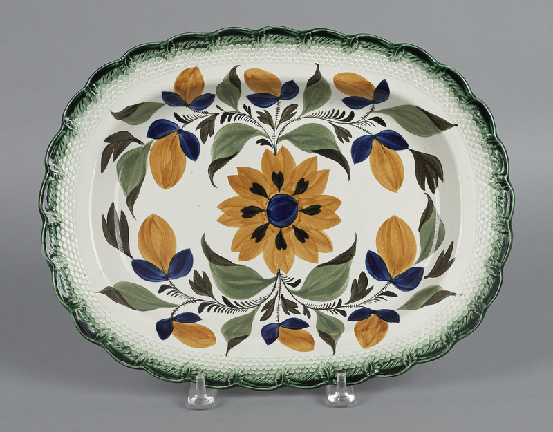 English pearlware platter, early 19th c., with vib