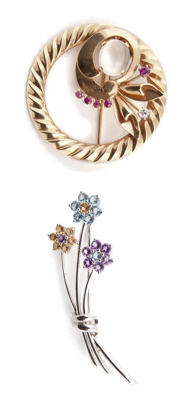 Two 14K gold floral pins, one white gold floral sp
