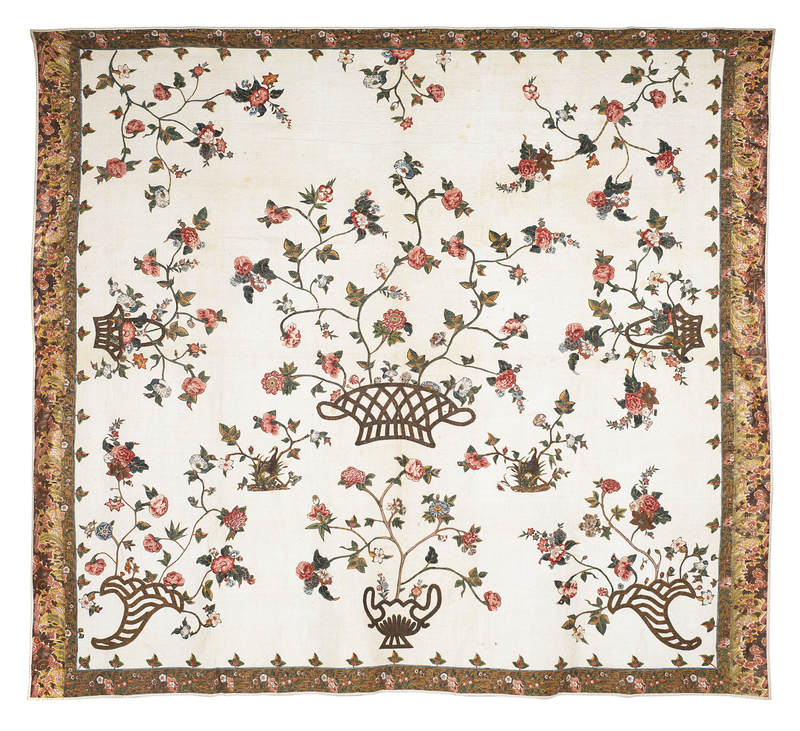 Important Philadelphia Broderie Perse quilt, inscr