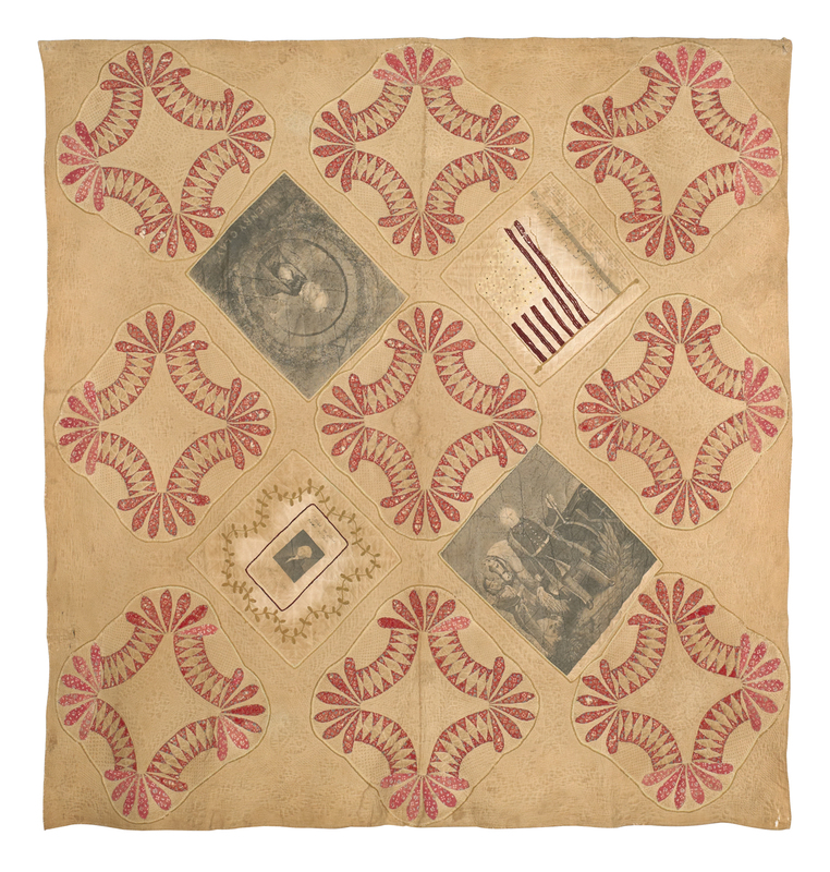 Pieced and trapunto quilt of political interest, t