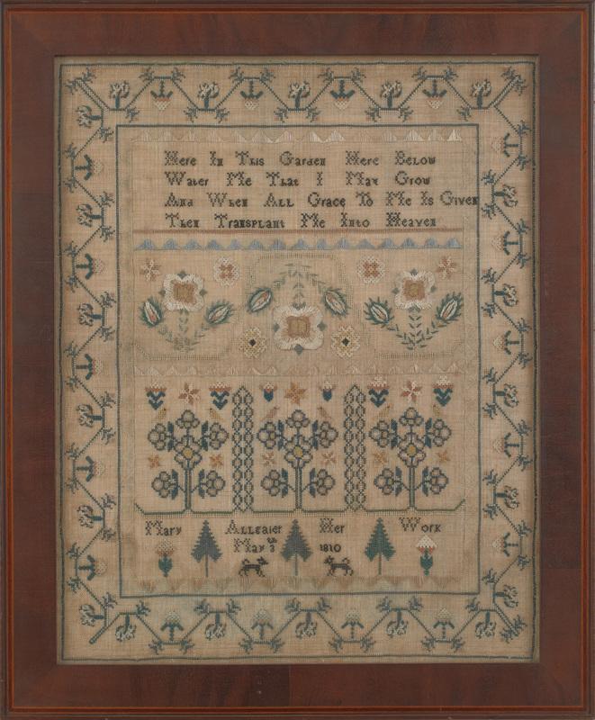 Reading, Pennsylvania silk on linen sampler, dated