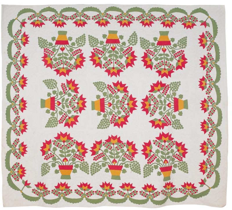 Appliqué flower basket quilt, 19th c., 82