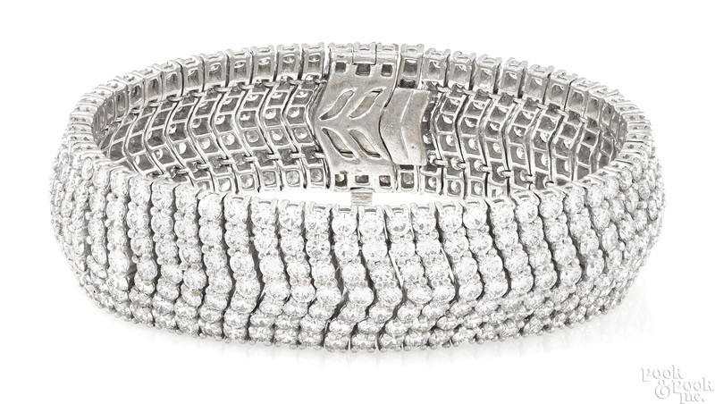 Platinum and diamond seven row chevron bracelet