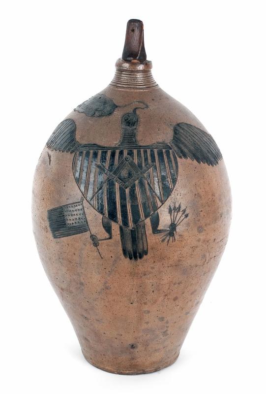 New Haven, Connecticut incised stoneware jug, ca.8