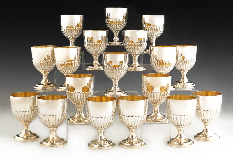 Set of eighteen English silver goblets, ca. 1940,e