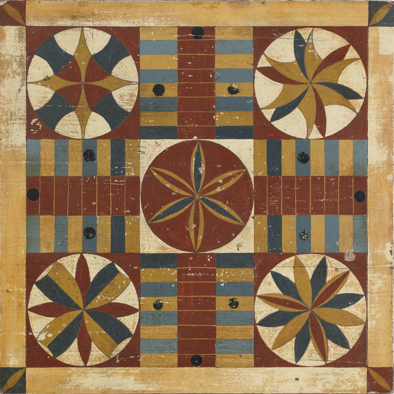 Painted pine Parcheesi board, late 19th c., 15