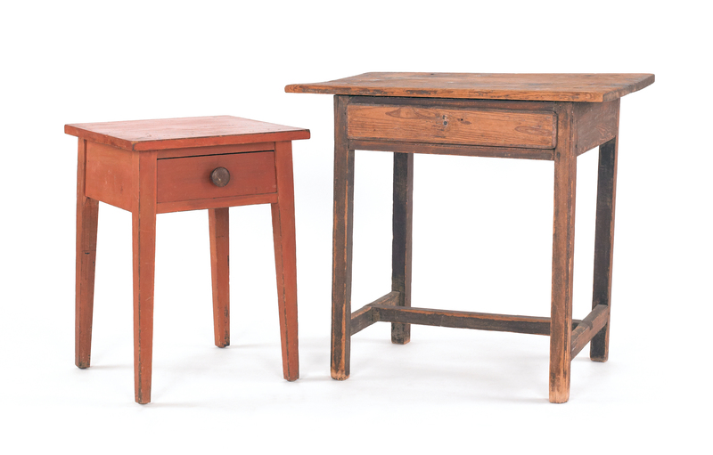 Two country pine one-drawer stands, 19th c., one w