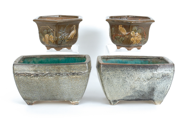 Two pair of Chinese ceramic planters, 6 1/2