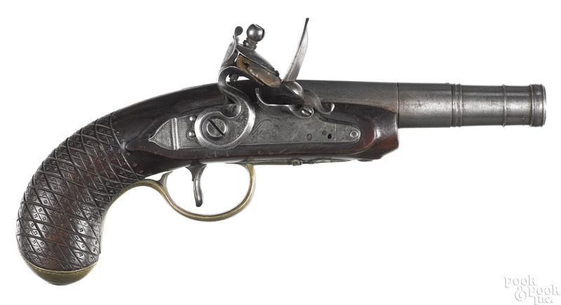 British screw barrel flintlock pistol