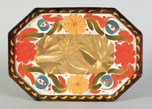 Fine tin toleware tray, early 19th c., having an o