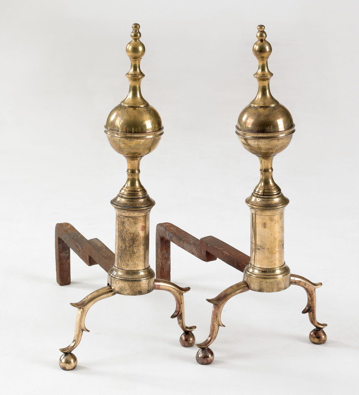 Pair of New York Federal brass andirons, early 19t