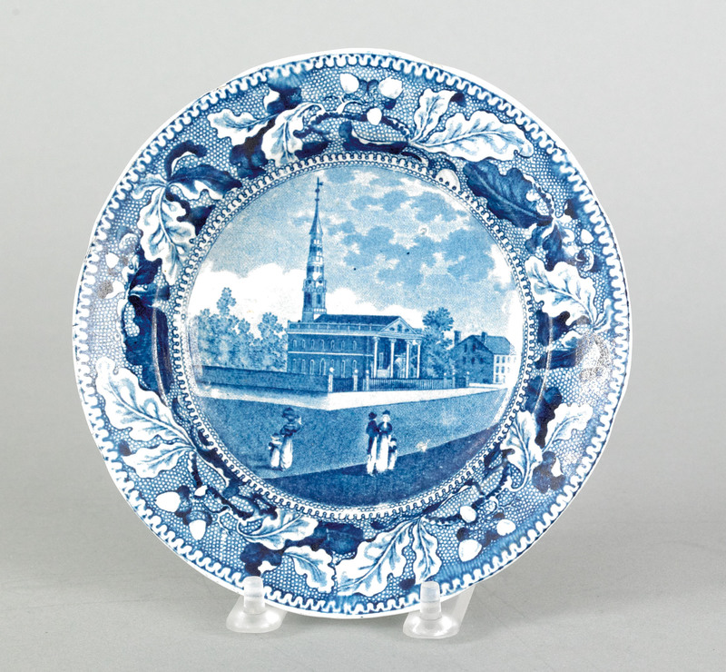 Historical blue Staffordshire plate, 19th c., depi
