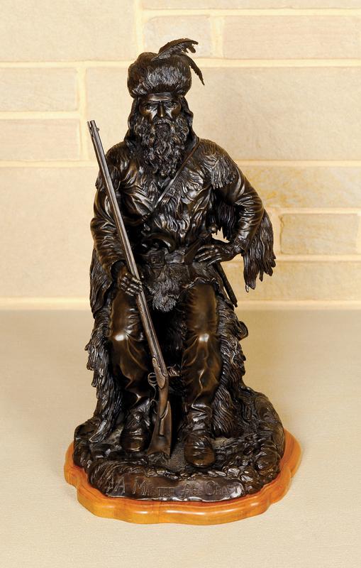 Bronze depicting a mountain man in great detail ti