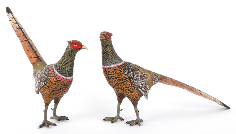 Two Austrian cold painted bronze pheasants, mid 20
