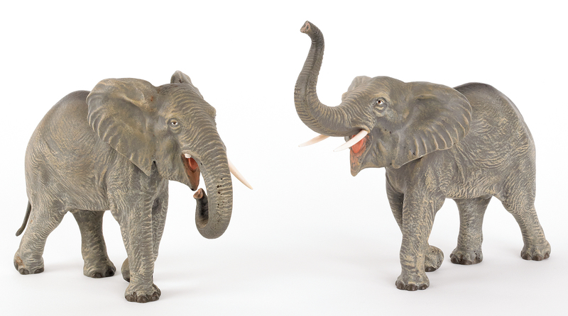 Two Austrian cold painted bronze elephants, mid 20