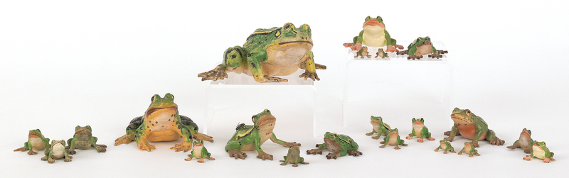 Twenty-one Austrian cold painted bronze frogs, mid