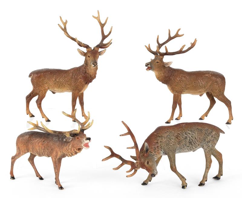 Four Austrian cold painted bronze elk, mid 20th c.