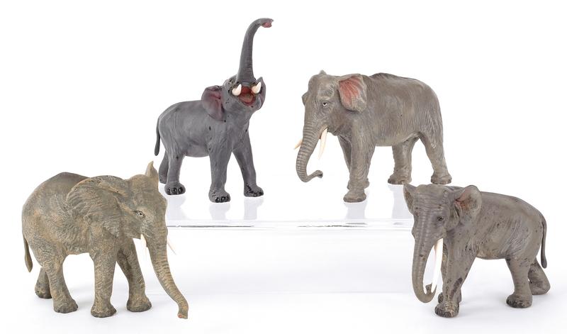Four Austrian cold painted bronze elephants, mid 2