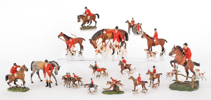 Fifteen Austrian cold painted bronze fox hunting f