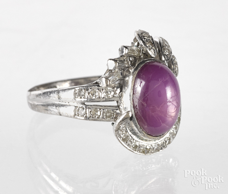 10k white gold ruby star sapphire and diamond ring