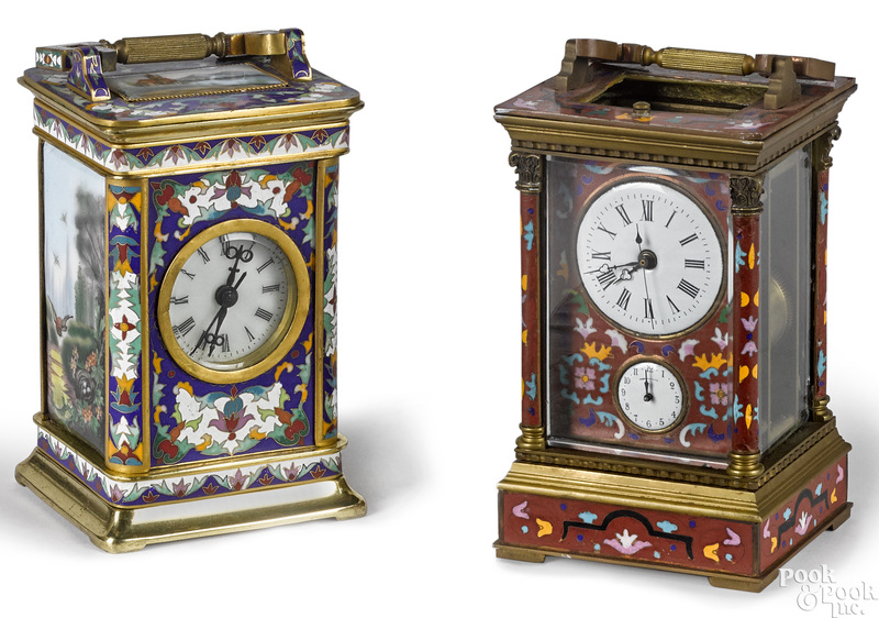 Two brass and cloisonné carriage clocks