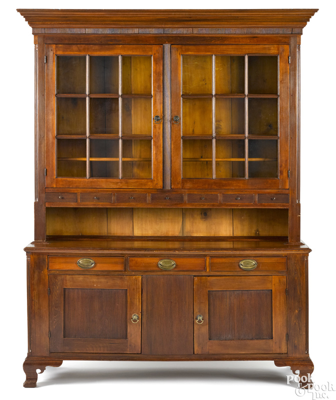 Pennsylvania poplar two-part Dutch cupboard