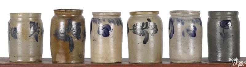 Six small Pennsylvania stoneware crocks, 19th c.