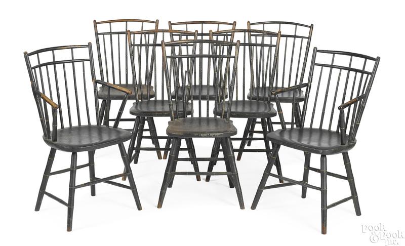 Set of eight Pennsylvania birdcage Windsor chairs