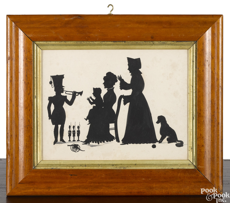 Three watercolor silhouettes of children playing