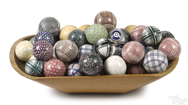 Large collection of antique carpet balls