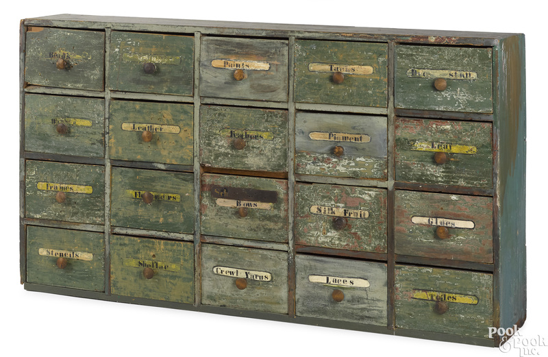 Painted pine apothecary cabinet, 19th c.