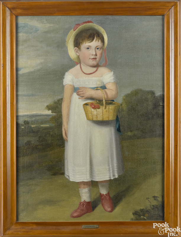 American oil on canvas folk portrait of a girl