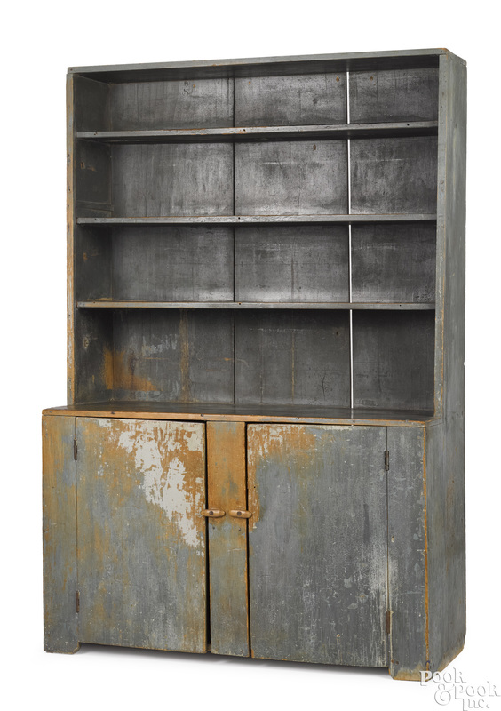 Painted pine stepback cupboard, early 19th c.