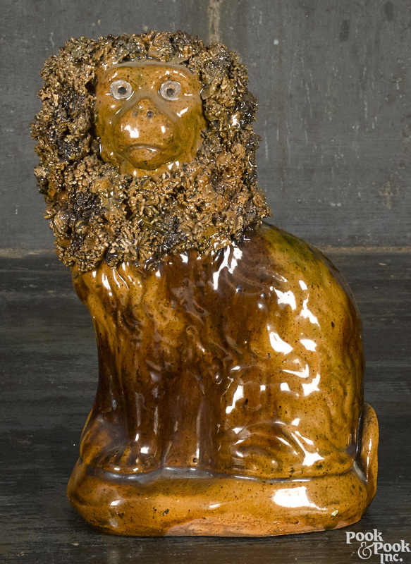 Wagner Pottery redware spaniel, 19th c.