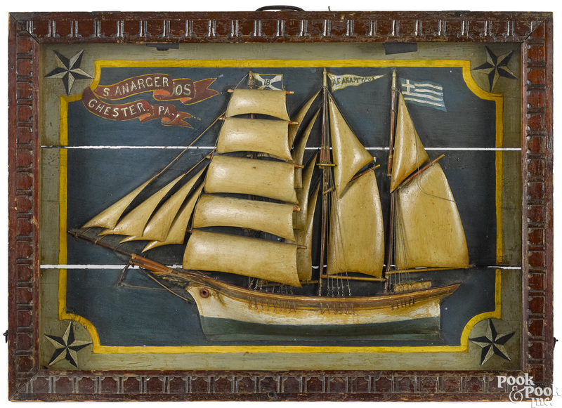 Carved and painted ship diorama, late 19th c.