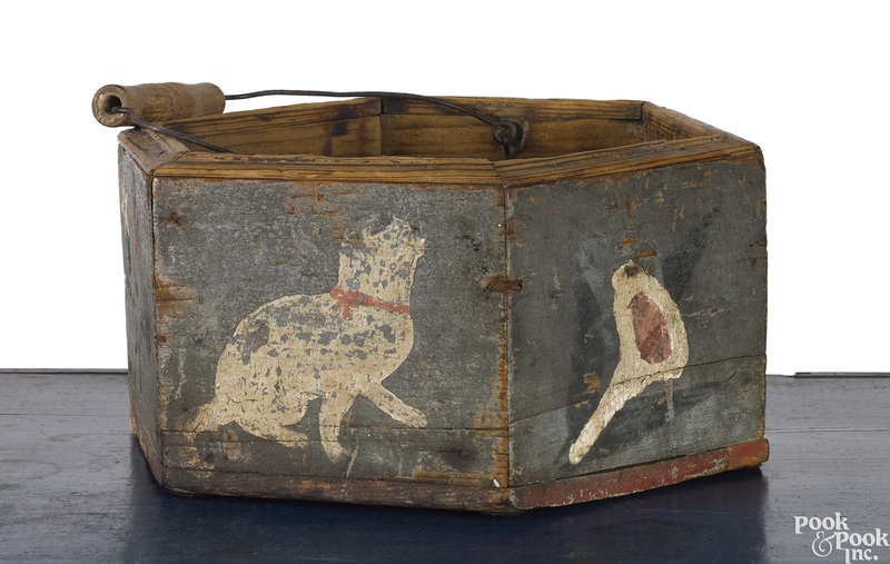Painted pine bucket, 19th c.