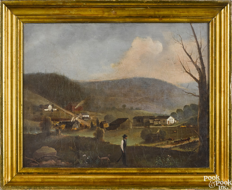 Oil on canvas view of Long's Mill, East Troy, PA