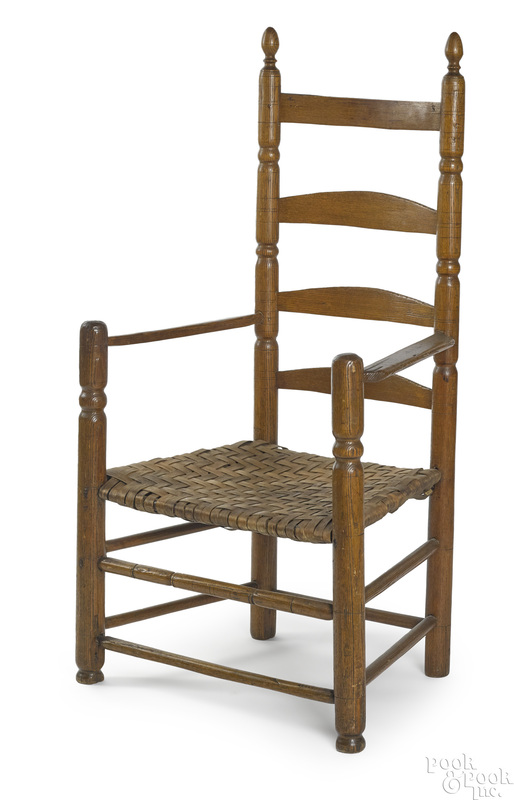 New England William and Mary ladderback armchair