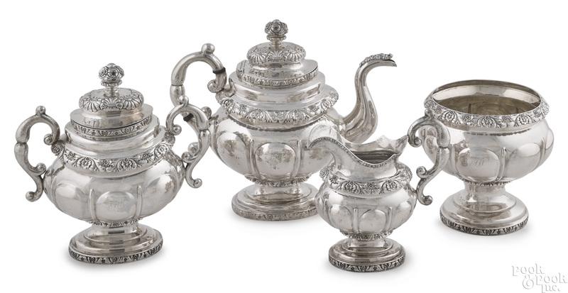 New York four-piece silver tea service