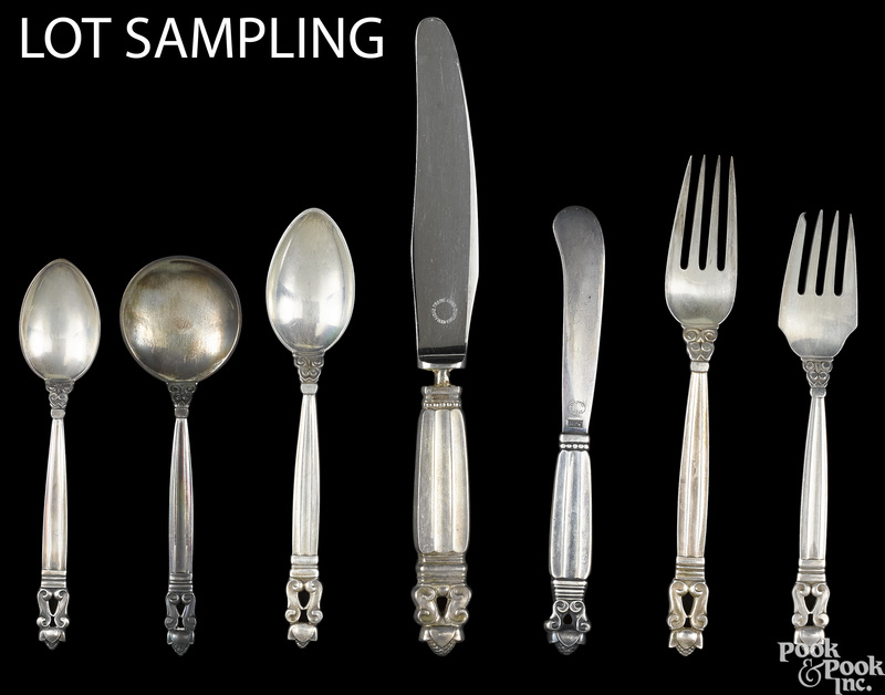 Georg Jensen sterling silver acorn flatware