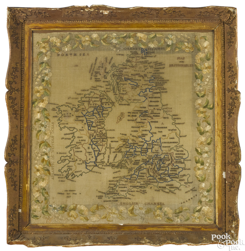Large embroidered Map of the British Isles
