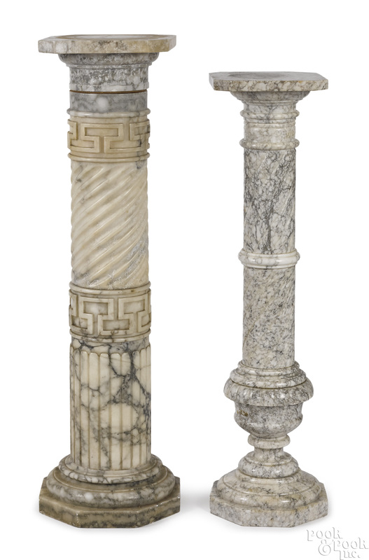 Two carved marble pedestals
