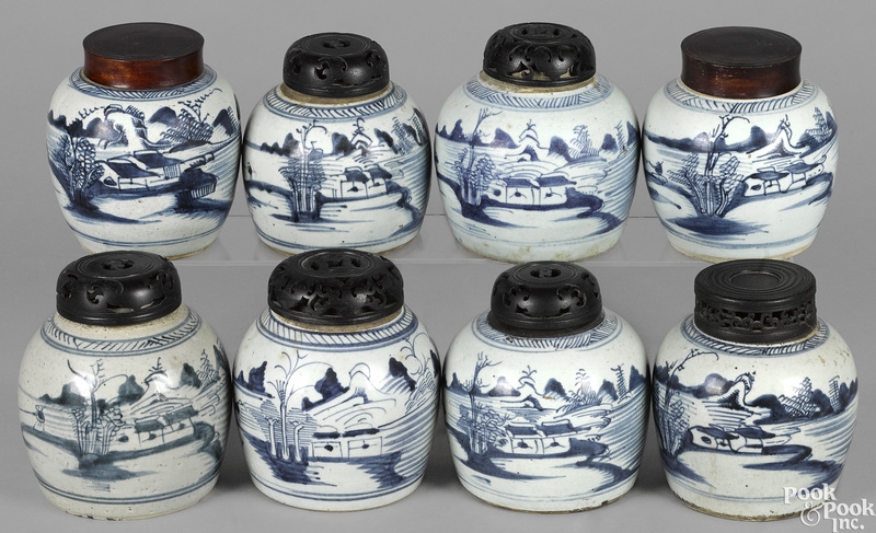 Eight Chinese export porcelain