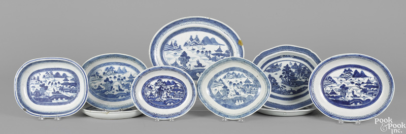 Nine Chinese export porcelain Canton