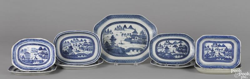 Nine Chinese export porcelain