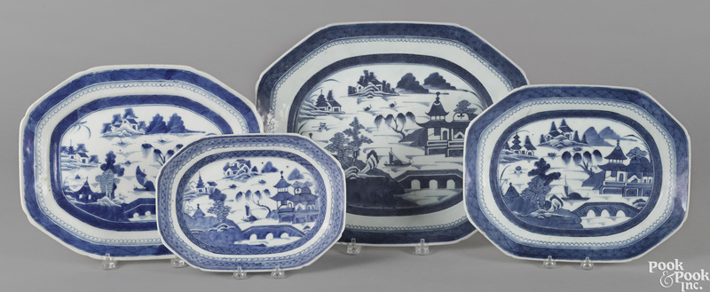 Four Chinese export porcelain platters