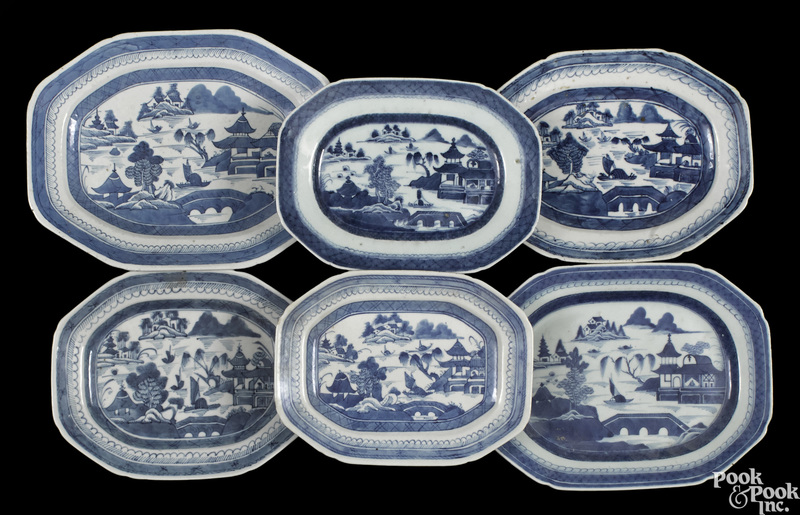 Six Chinese export porcelain Canton plates