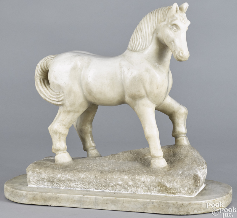 Carved marble horse, early 20th c.